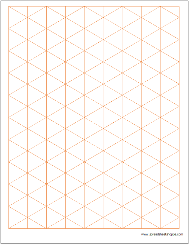 Isometric Graph Paper Template - Spreadsheetshoppe