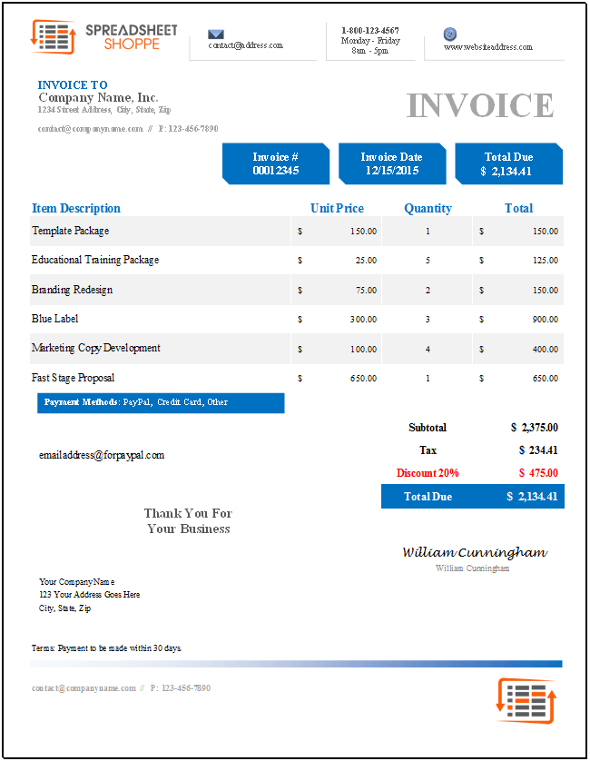 Tax Invoice Template Excel Premium Invoice Template Denali  Spreadsheetshoppe Late Invoice Letter with Staples Receipts Denali Invoice Template  Blue Invoicing And Payment Pdf