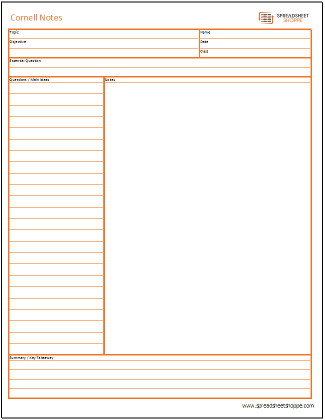 cornell notes templates 3 options