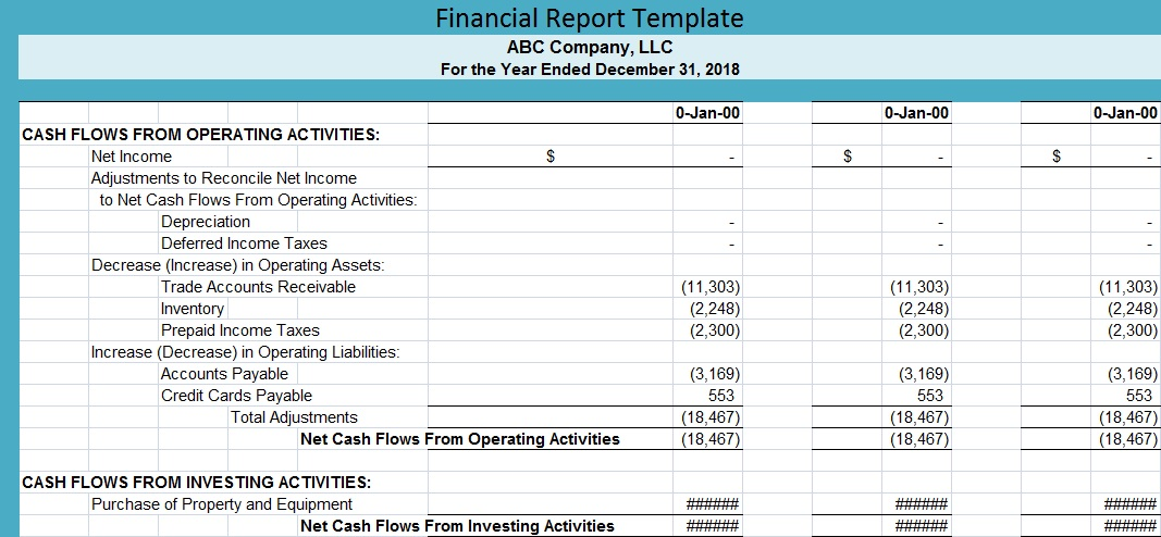 Financial Report Template Free Excel Spreadsheet Templates