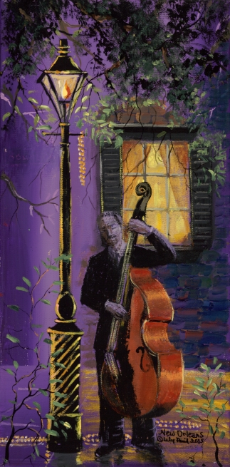 Painting of a musician making romantic clamor