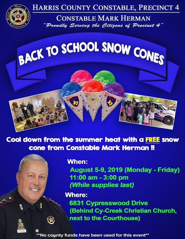 Cool off with Constable Mark Herman! Free Snow Cones This Week
