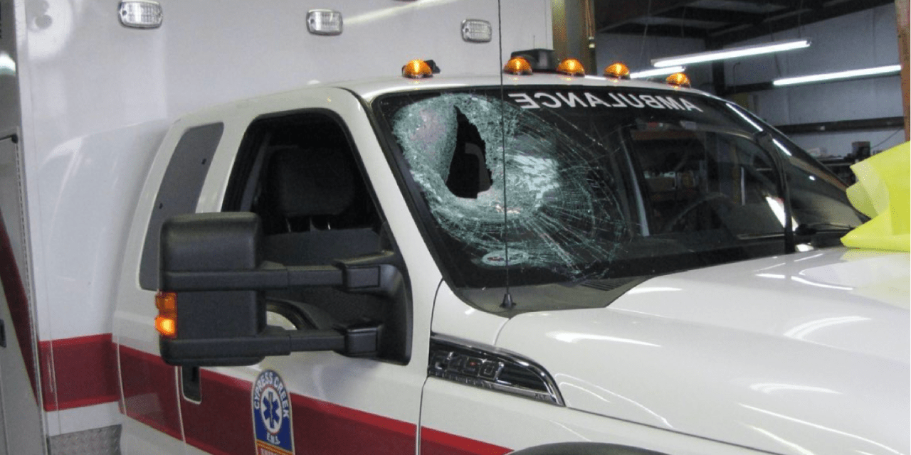 Paramedics Injured After Suspect Throws Concrete Through Ambulance Windshield