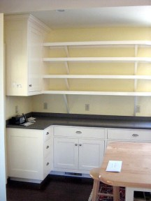 oley kitchen with open shelves
