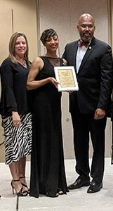Pictured from left, are Kristi Brown, Northgate Crossing Elementary School principal, Ladell Whitfield, Northgate Crossing Elementary teacher and HAABSE Teacher of the Year, and Dr. Rodney Watson, Spring ISD Superintendent of Schools