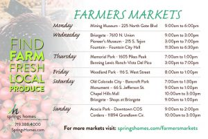 Colorado Springs Farmers Markets Schedule Summer 2018