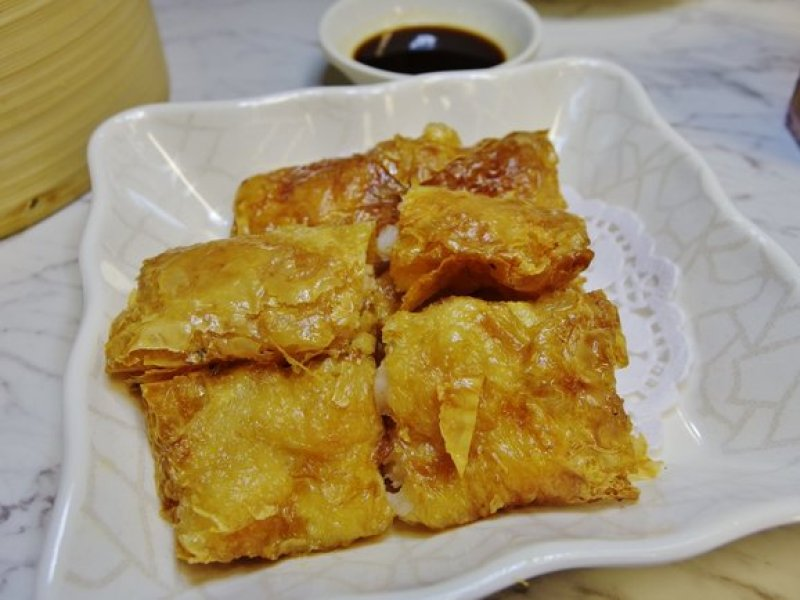 Pan-fried Beancurd Skin Roll Stuffed with Shrimp