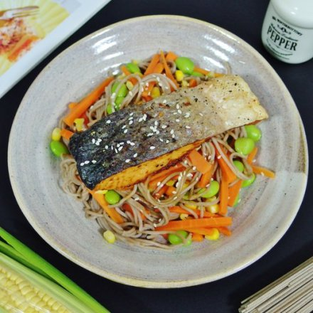 Oven-Baked Salmon with Soba Noodles Recipe