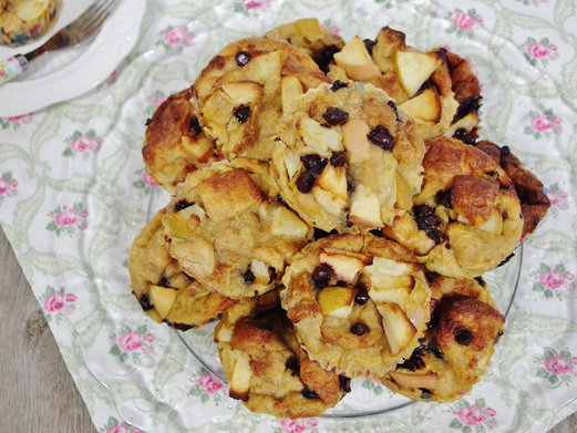 Apple, Pear and Chocolate Chip Bread Pudding Muffins Recipe