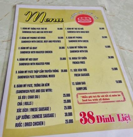 Banh My Pho Co menu