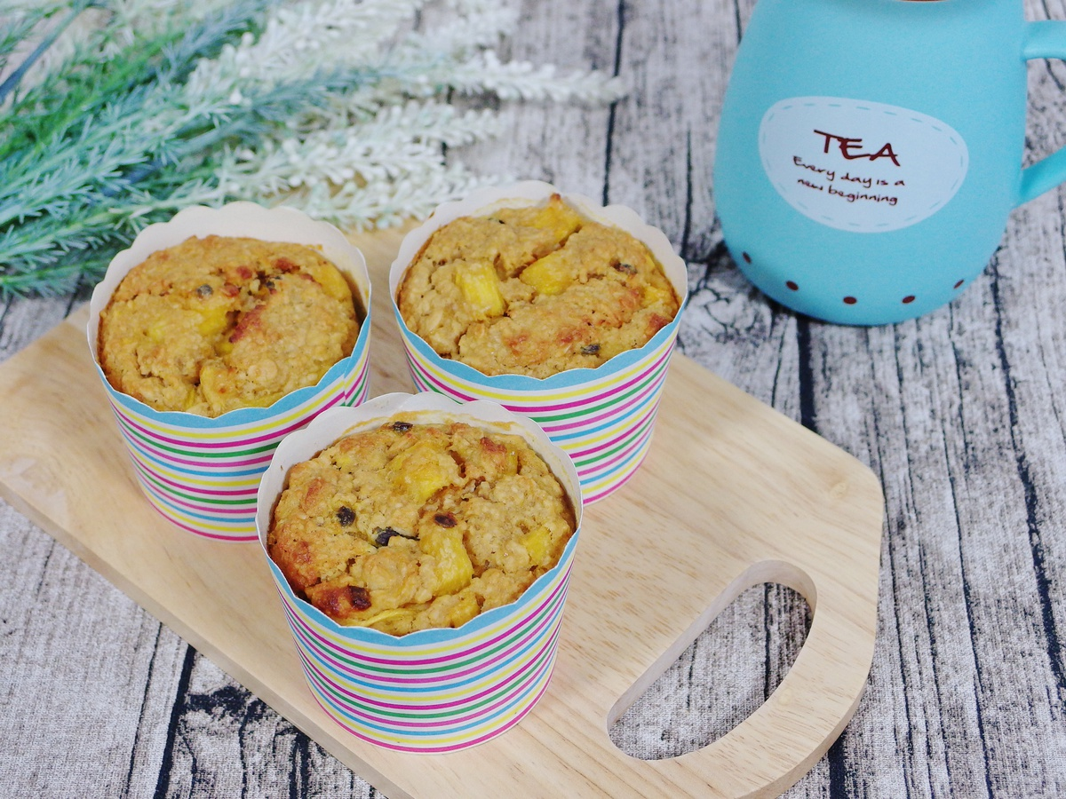 Tropical Muffins Recipe with mango, pineapple, passionfruit and banana