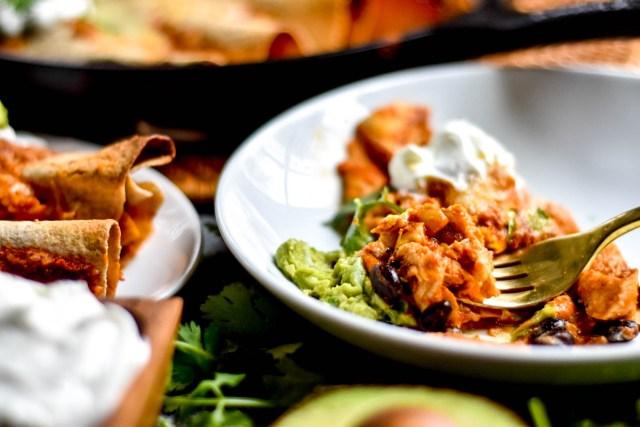 easy chicken skillet enchiladas