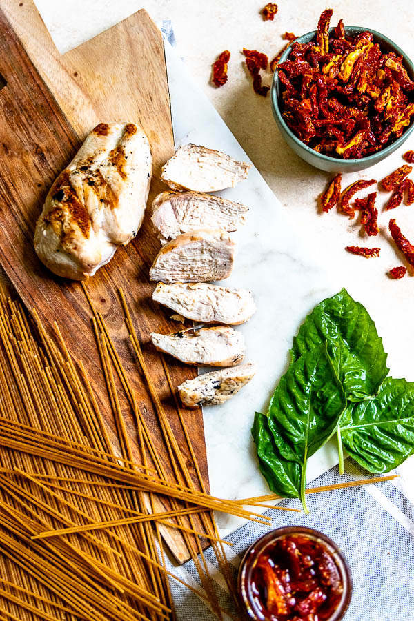 lightened-up sun dried tomato pasta with grilled chicken