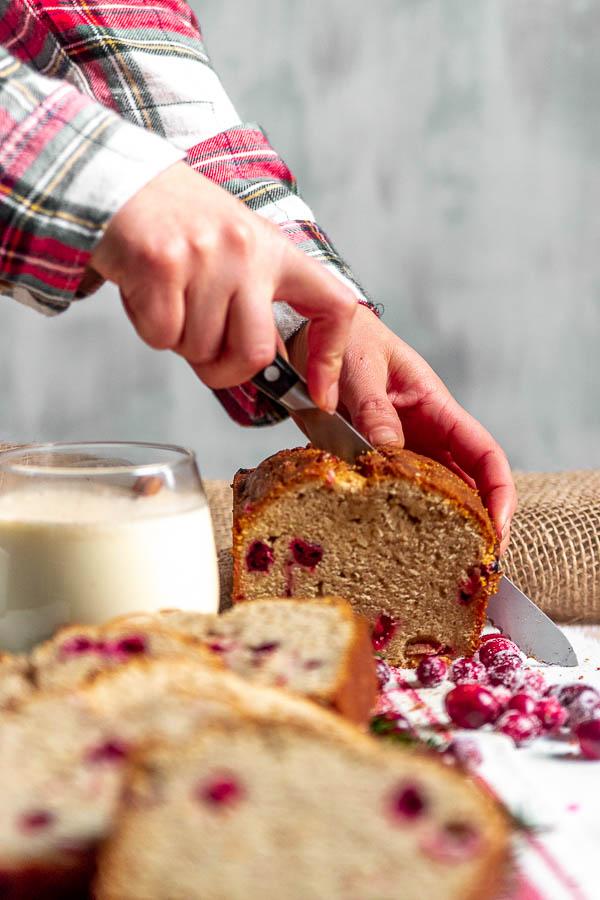 Cranberry Eggnog Bread Slice