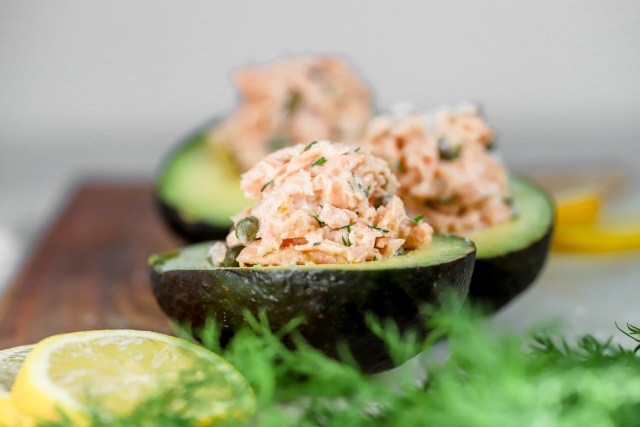 salmon salad in an avocado