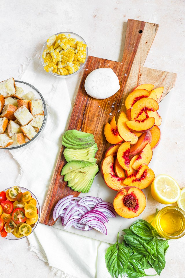 Peachy Panzanella Salad Ingredients