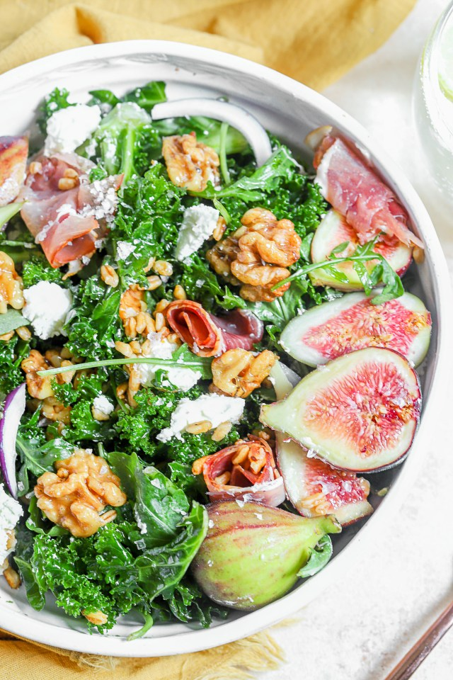 Maple Balsamic Fresh Fig and Toasted Farro Salad