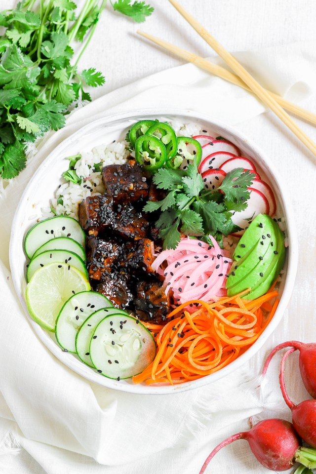 Banh Mi Rice Bowls with Air Fryer Tofu