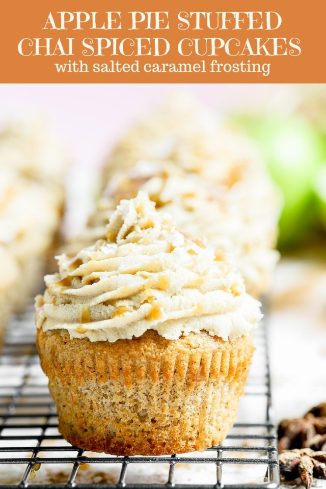 Apple Pie Stuffed Chai Spiced Cupcakes