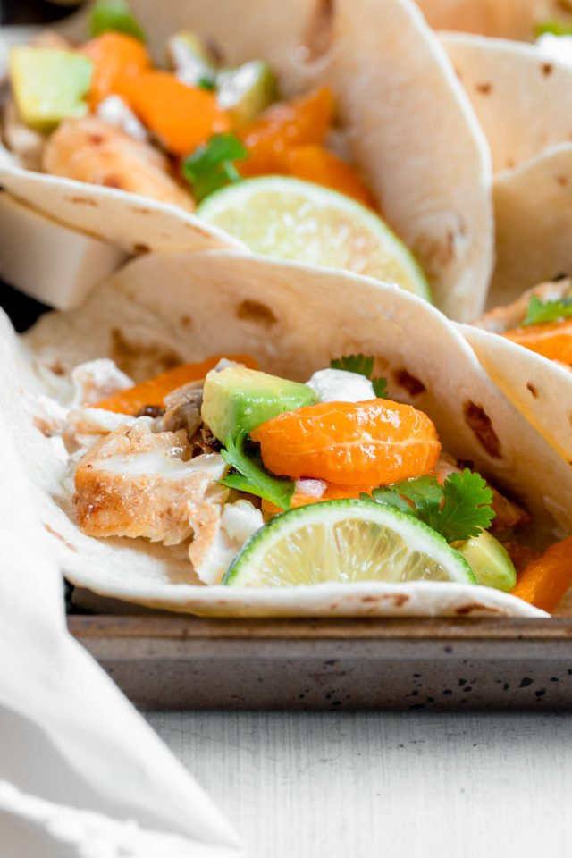 Simple Fish Tacos with Clementine Salsa