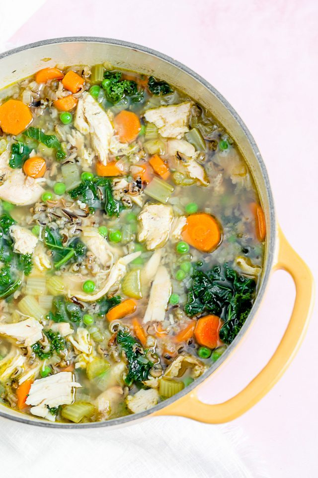 Leftover Turkey Soup with Kale and Wild Rice