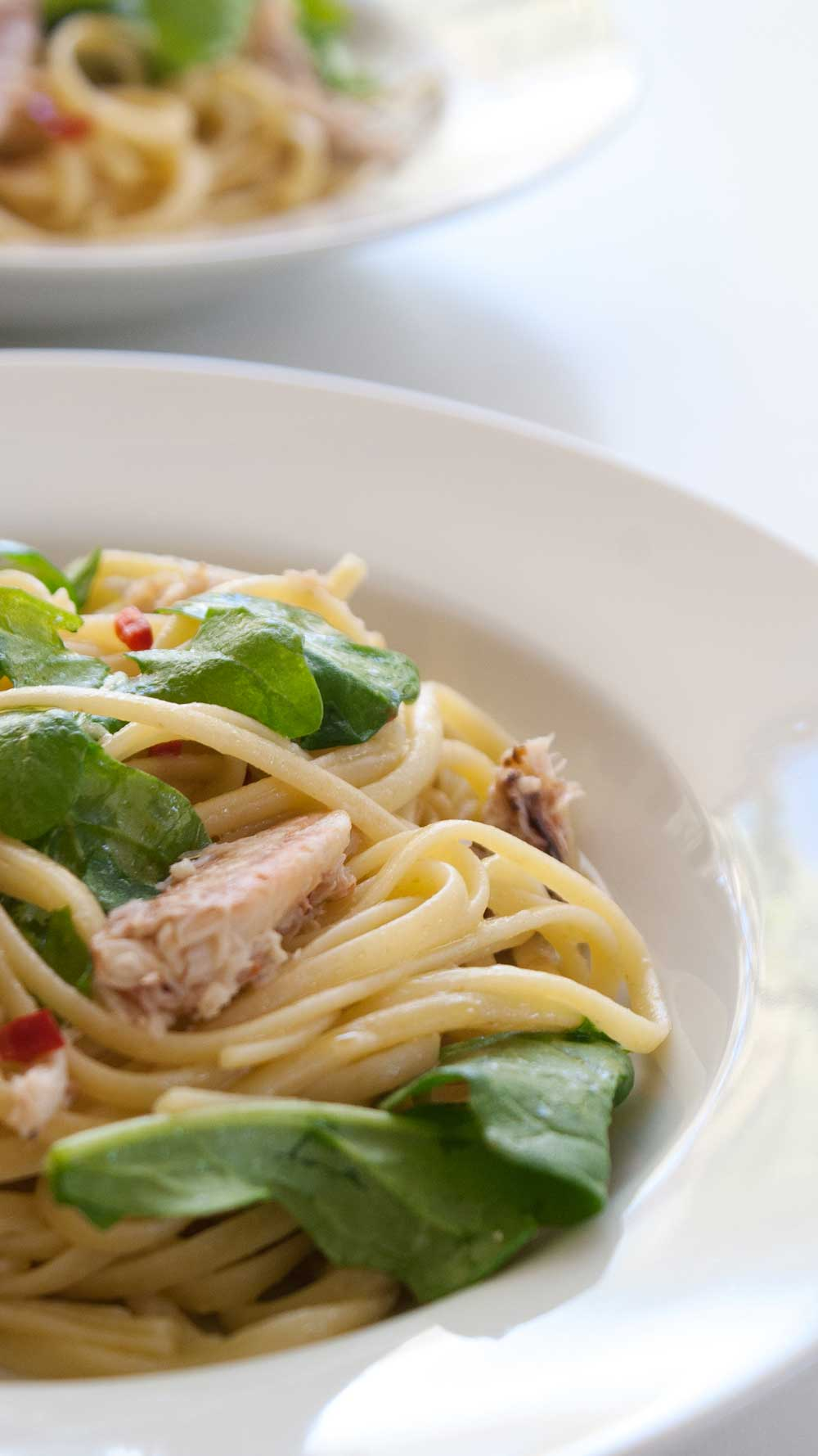 Crab and Rocket Linguine. Elegant, simple and scrumptious.