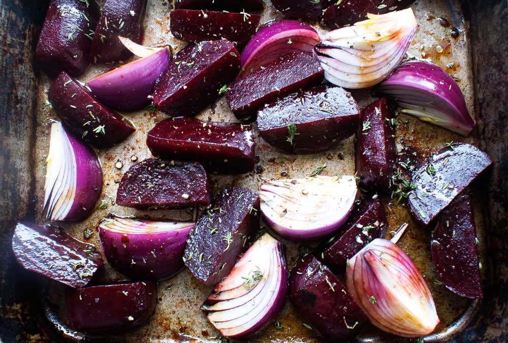 Balsamic onion and beetroot bake. A delicious and naturally sweet side dish that is perfect for serving with grilled meats.