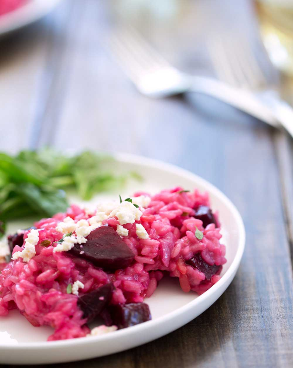 This Perfectly Pink Beetroot Risotto with Ricotta and Thyme is my savoury contribution to raising awareness for Breast Cancer. A show stopping dinner. | Sprinkles and Sprouts