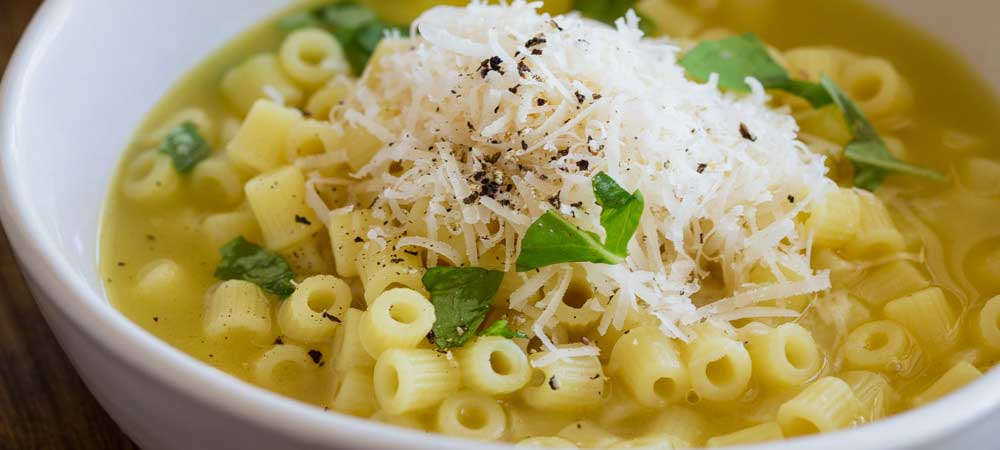 Pasta with Chicken Broth, Butter and Parmesan