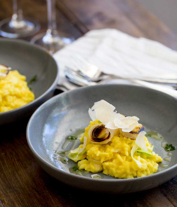 This Saffron and Leek Risotto is the perfect balance of comfort and elegance. The saffron adds a beautiful colour and the sweet creamy leeks take it beyond the norm. Perfect for entertaining or a mid week meal.
