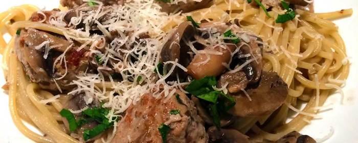 Pork meatballs with garlic mushroom spaghetti