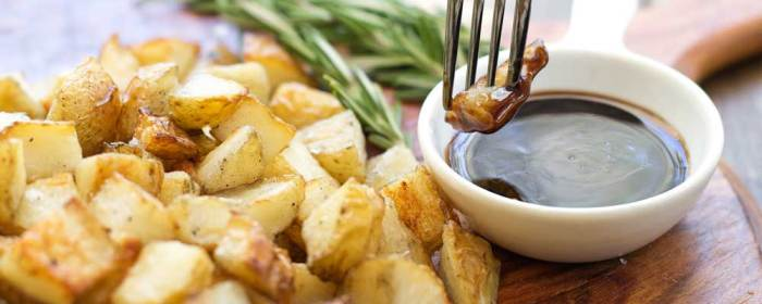 Salt and Vinegar Potato Cubes with Rosemary Balsamic Dip