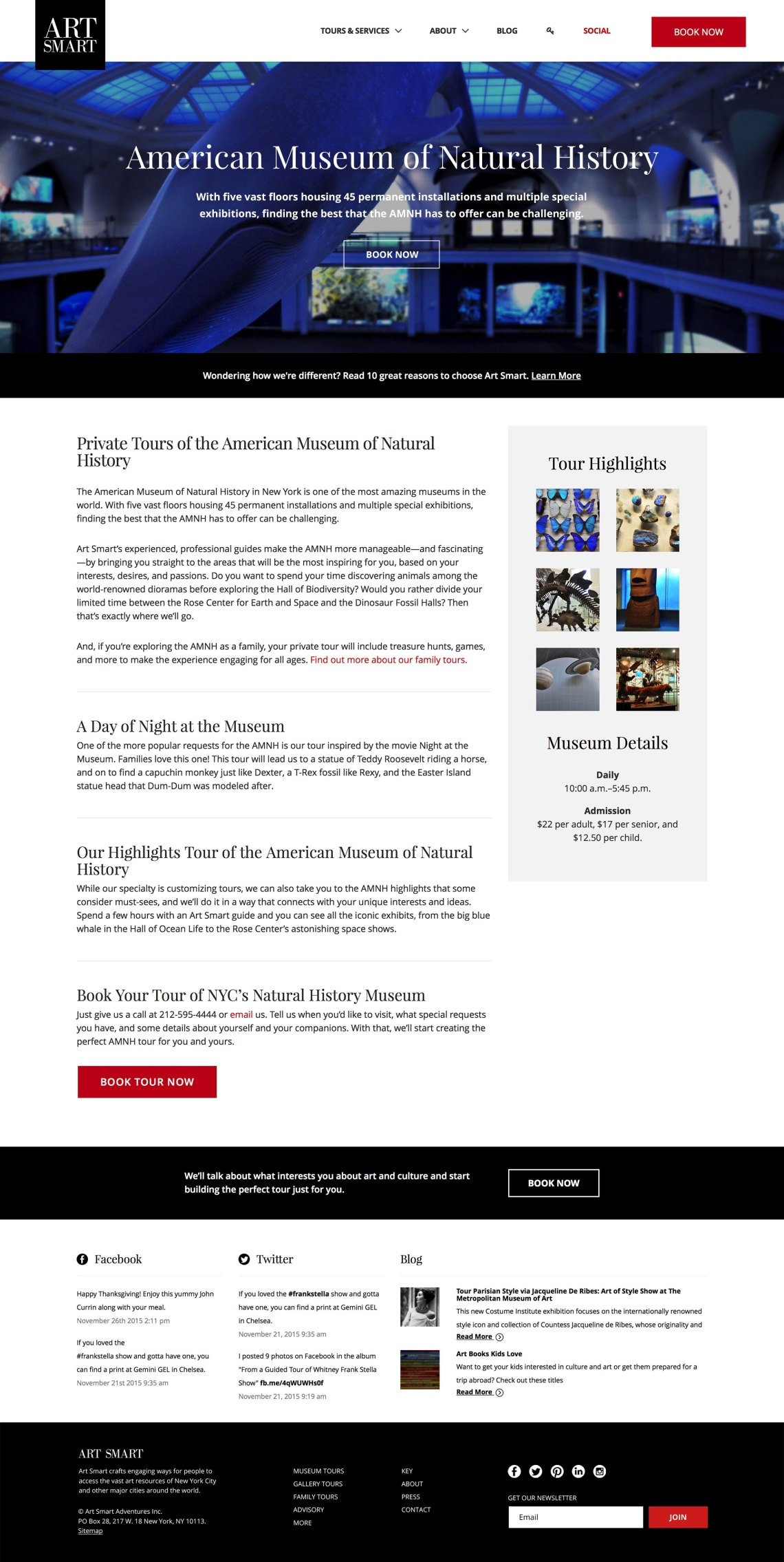 new york museum tours - web design for an art touring company