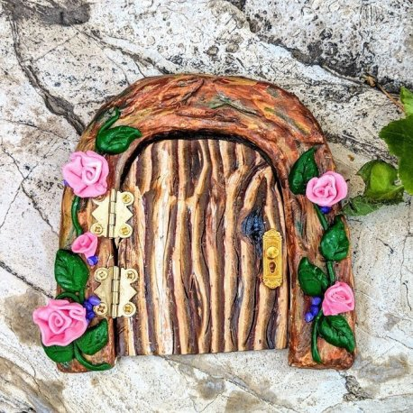 Functional Fairy Door with Pink roses handmade by Sprouted Dreams