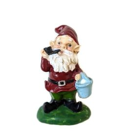 Red Gnome with Bucket and Pipe