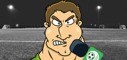 Ein wütender Fußballspieler im Comic-Stil vor dem Mirkofon