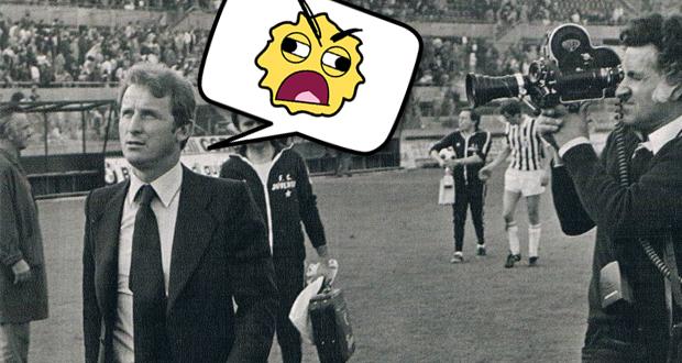 Giovanni Trapattoni noch als junger Trainer mit einer Comic Spruchblase und einem wütenden Gesicht