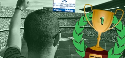 Fussballfan in einem gefüllten Stadion der die Faust nach oben hält. Daneben ein Pokal mit der Innschrift Fussballspruch des Jahres