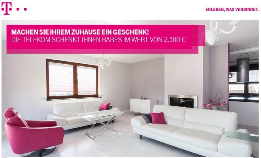Beim Gewinnspiel der deutschen Telekom können Sie Bargeld im Wert von 2.500 EURO gewinnen!