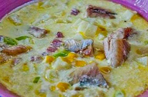 Kipper, Corn, and bacon Chowder