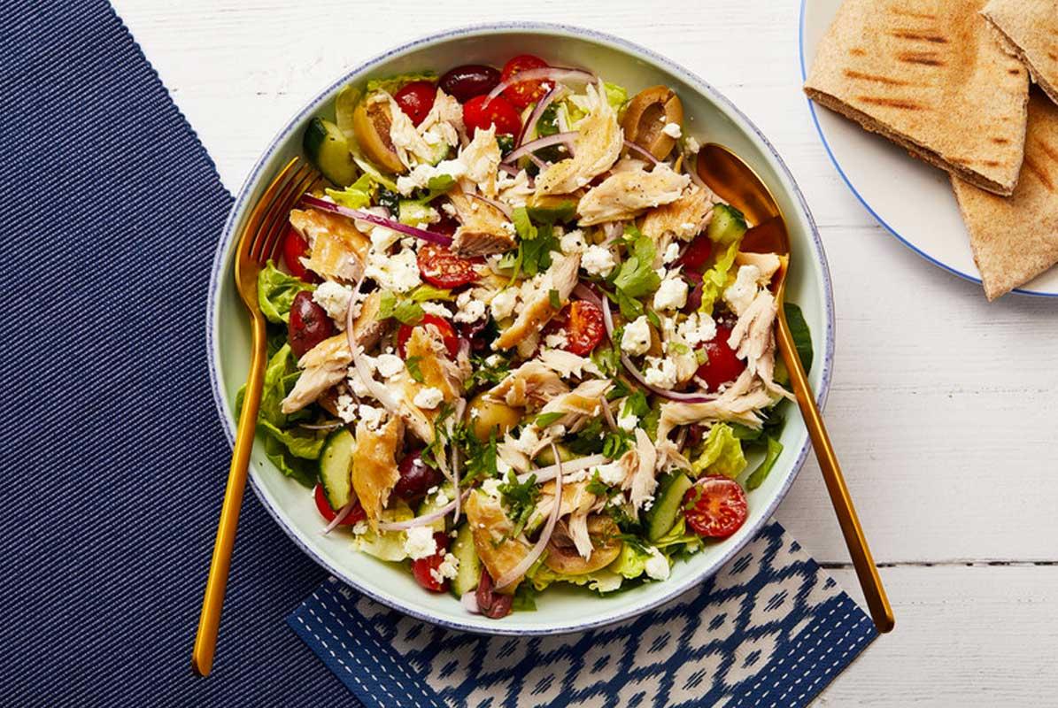 Smoked mackerel and Greek salad
