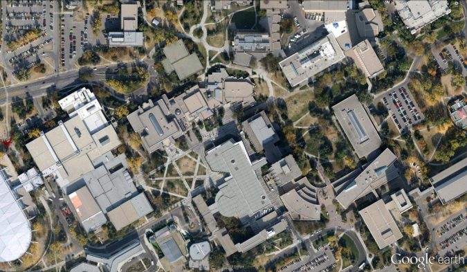 University of Calgary's many walkways, following the desire lines of the people.