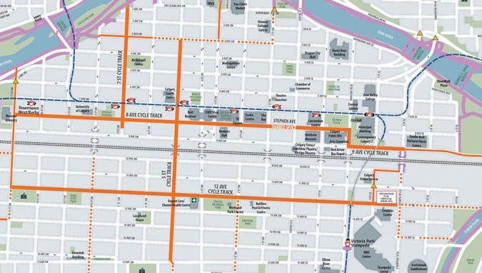 Cycle track pilot map downtown [City of Calgary]