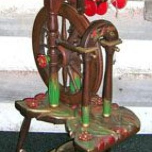 Decorated upright wheel by Alan Brenkley