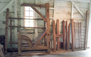 The loom at the Old Chelmsford Garrison House ready to assemble after cleaning.