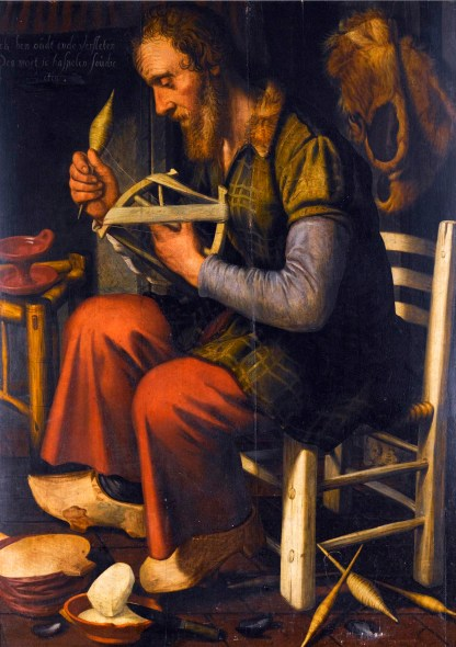 A picture by Pieter Pietersz, a mid-16th century Dutch painter, shows an old man winding yarn off a spindle and onto a niddy-noddy.