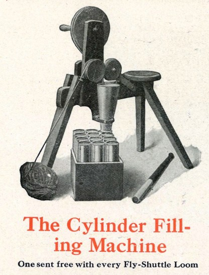 """The Cylinder Filling Machine"" also called a pony. Small three legged structure that can be sat on while feeding strips of fabric into cylinders. (Newcomb Loom Company, 1912)"