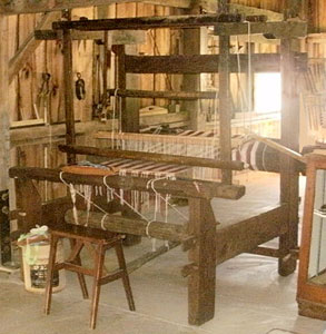 Loom #2, single rear support loom complete and warped at Green County Historical Society.