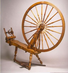 """Cummer #94, horizontal treadle wheel with 36"""" drive wheel, curved table."""