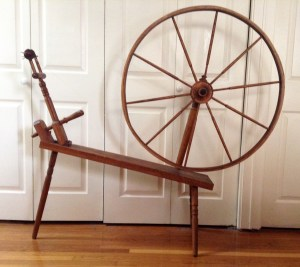 """A very plain great wheel with direct drive spindle head, from late """"hippy period."""" Note thick rim on drive wheel."""